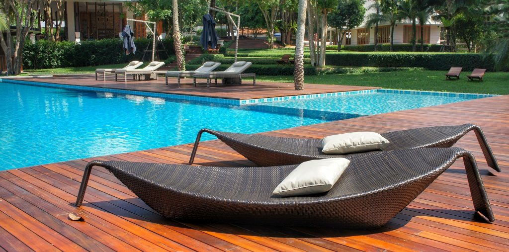wicker furniture pool