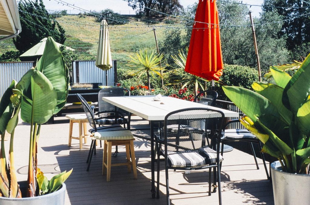 Patio furniture in spring